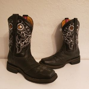 Men's Potrero Black Cowboy Western Boots Size 6.5